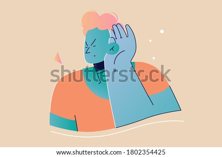 Emotion, face, expression, rumor, desease, health, care concept. Young deaf serious focused man guy teenager character standing with hand over ear listening or hearing to gossip. Deafness illustration Foto d'archivio ©