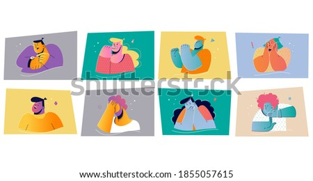 Emotion, face expression set concept. Positive and negative emotional people vector illustration for print. Collection of men women cartoon characters checking time biting nails showing timeout sign  Stock photo ©