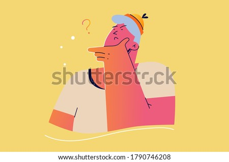 Emotion, face, expression, thought, trouble, question concept. Young pensive thoughtful man guy teenager character confused or wonder about problem. Uncertainty with doubts and thinking illustration.