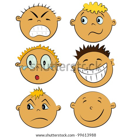emotion faces set. cartoon children emotions collection