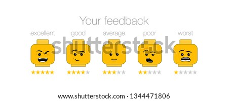 emotion feedback scale on white background. Angry, sad, neutral, satisfied and happy emoticon set Review of consumer. yellow funny cartoon Emoji icons User experience. Rank, level satisfaction lego