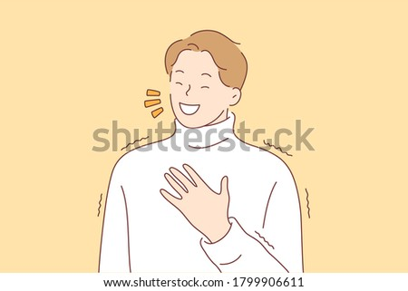 Emotion, happiness, face, laughter, joy, fun concept. Young cheerful smiling happy man guy teenager character laughing hard out loud because funny crazy joke. Positive facial expression illustration.