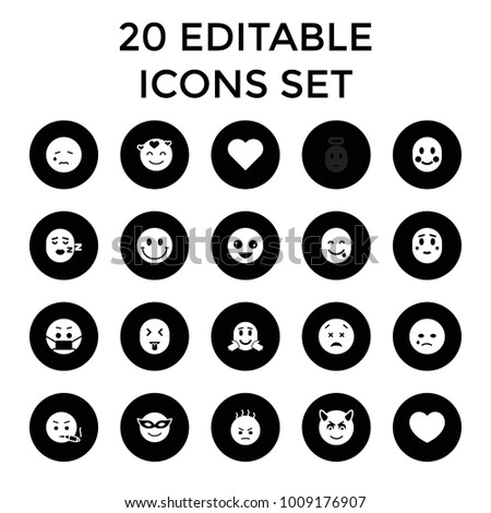 Emotion icons. set of 20 editable filled emotion icons such as heart, crazy emot, emoji in mask, crying emot, smiley, blush. best quality emotion elements in trendy style.
