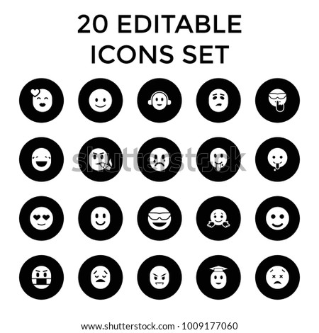 Emotion icons. set of 20 editable filled emotion icons such as smile, smiling emot, emot in sun glasses, emoji showing tongue. best quality emotion elements in trendy style.