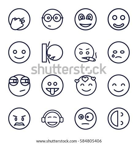 emotion icons set. Set of 16 emotion outline icons such as smiley, smiling emot, crying emot, nerd emoji, emoji, rolling eyes emoji