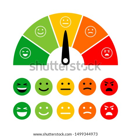 Emotion scale. Emotions dial measuring, emotive meter, emotes score vector illustration for customer satisfaction from excellence to poorly rating isolated on white