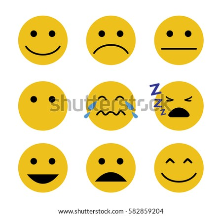 Emotion set. Simple smiley set.