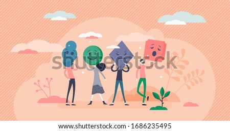 Emotion types vector illustration. Various smileys flat tiny persons concept. Human feelings collection in abstract scene. Nonverbal communication with happy, sad, angry and bored facial expressions Foto d'archivio ©