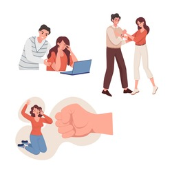 Emotional abuse and domestic violence vector flat illustration. Aggressive man yelling at his wife, woman against big fist, husband holding woman hands. Family, social violence problems concept.