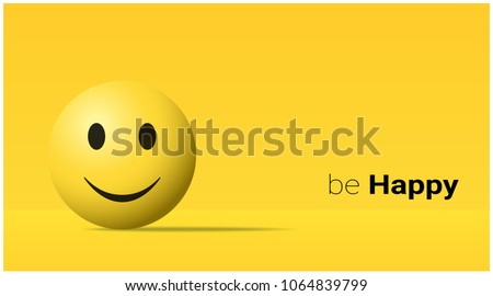 Emotional background with happy yellow face emoji , vector , illustration