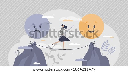 Emotional balance as good feeling choice over bad mood tiny person concept. Female on slackline as tight emotion control with unstable mental state vector illustration. Choose your face expression.