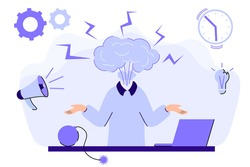 Emotional burnout Man's head exploding under anxiety pressure Social demands and work life balance problems How to relieve stress Acute stress disorder Work related stress concept vector illustration
