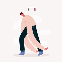 Emotional burnout man with low battery. Young overworked man feeling exhausted. Hard work. Psychological disorder, apathy idea.Deadline,stress, depression and fatigue concept.Vector illustration.