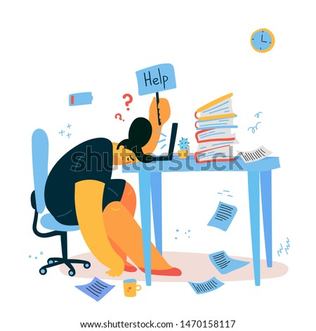 Emotional burnout woman sitting at her working place with computer in office and holds the sign Help,tired businesswoman with low battery,emotional burnout concept.Hard work.Vector illustration