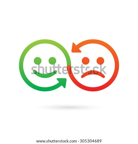 Emotional connection concept. Smiling green and angry red faces, sharing emotions. Swap vector icon. - Shutterstock ID 305304689