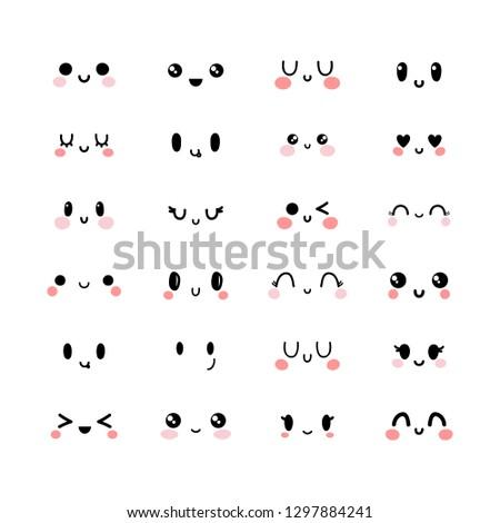 emotional cute faces in kawaii