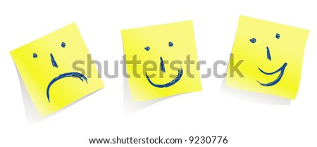 emotional  faces :-)  :-(  :-D memory yellow pages / vector Make mood! #9230776
