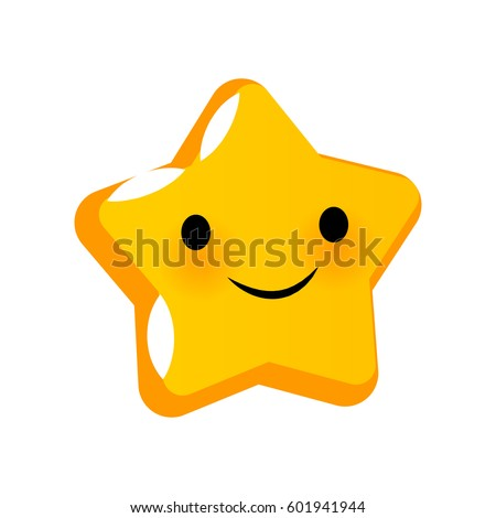 Emotional faces star smiles. Vector illustration smile icon. Face emoji yellow icon. Smile cute funny emotion face isolated background. Feelings, expression for message, sms.