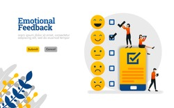 Emotional feedback with emoticons and checklists on smartphones vector illustration concept can be use for, landing page, template, ui ux, web, mobile app, poster, banner, website, flyer, ads