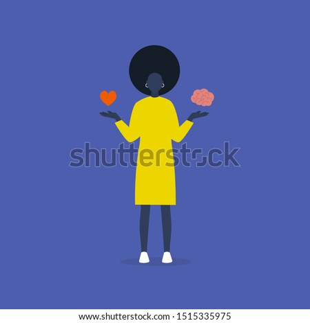 Emotional intelligence. Balance of emotions and thoughts. Therapy. Harmony. Young black female character choosing between heart and brain. Conceptual illustration, clip art Photo stock ©