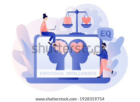 Emotional intelligence. Heart and brain on balanced scale symbol. Tiny people exploring inner personality. Online EQ test. Love, mind, logical. Modern flat cartoon style. Vector illustration Photo stock ©