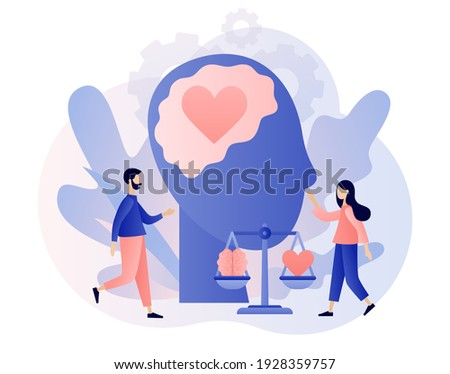 Emotional intelligence. Heart and brain on balanced scale symbol. Tiny people exploring inner personality. Love, mind, logical. Modern flat cartoon style. Vector illustration on white background Photo stock ©