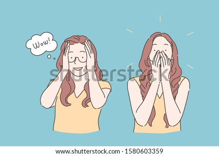 Emotional reaction, amazement expression, wonderstruck concept. Young woman in glasses looking surprised, astonished girl saying wow, beautiful overwhelmed lady. Simple flat vector