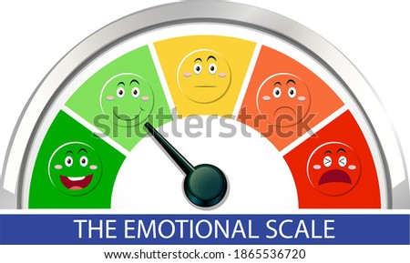 Emotional scale with arrow from green to red and face icons illustration Foto d'archivio ©