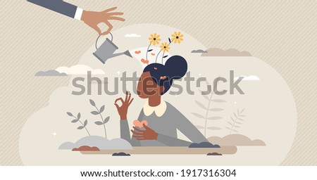 Emotional self care as positive female mental balance tiny person concept. Peaceful mind and happy feelings with psychological support from therapy vector illustration. Woman love, esteem and harmony. 商業照片 ©