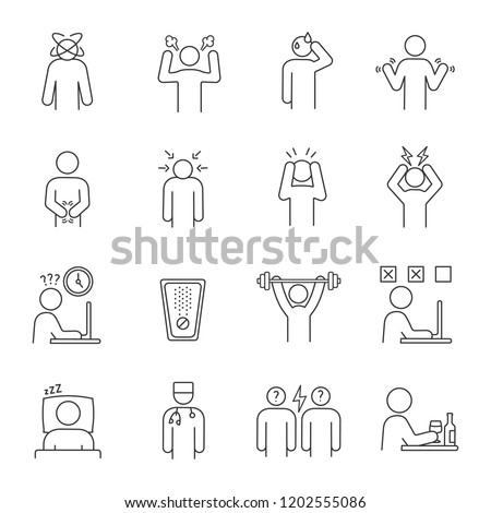Emotional stress linear icons set. Chronic depression. Exhaustion and fatigue. Anxiety, frustration.Thin line contour symbols. Isolated vector outline illustrations. Editable stroke