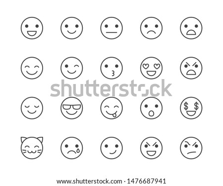 Emotions flat line icons set. Happy face, sad, anger, smile, facial expression emoticon vector illustrations. Outline signs for customer experience feedback. Pixel perfect. Editable Strokes.
