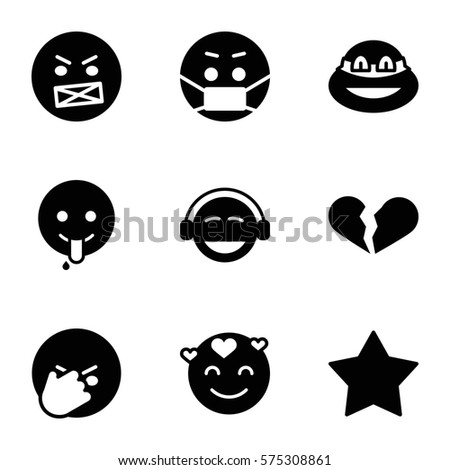 emotions icon set of 9