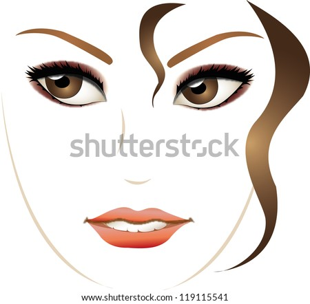 emotions in a woman's face, vector