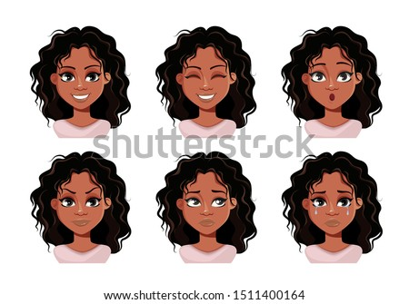 Emotions of beautiful young African American woman. Face expressions of cute lady. Vector illustration.