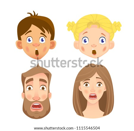 emotions of human face set of