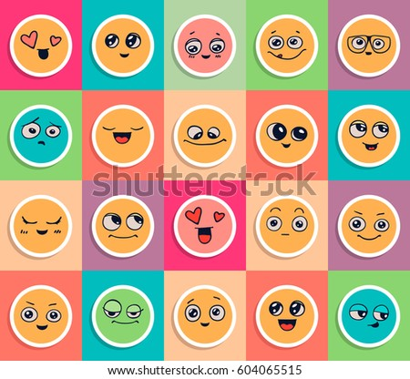 emotions set of smiley face