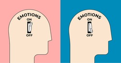 Emotions turn on and off. Emotional intelligence concept with human head silhouette with emotion on or off toggle switch inside. Minimalistic vector illustration.