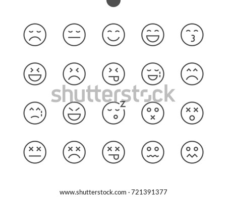 Emotions UI Pixel Perfect Well-crafted Vector Thin Line Icons 48x48 Ready for 24x24 Grid for Web Graphics and Apps with Editable Stroke. Simple Minimal Pictogram Part 2-5
