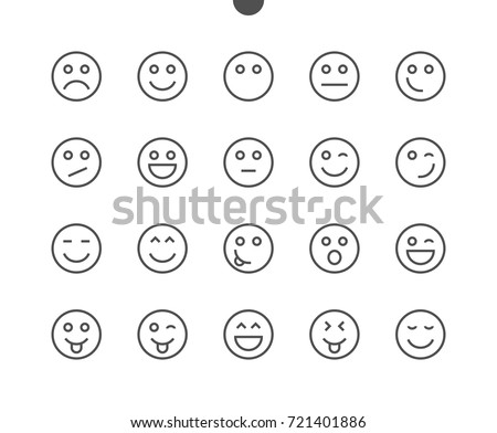 Emotions UI Pixel Perfect Well-crafted Vector Thin Line Icons 48x48 Ready for 24x24 Grid for Web Graphics and Apps with Editable Stroke. Simple Minimal Pictogram Part 1-5
