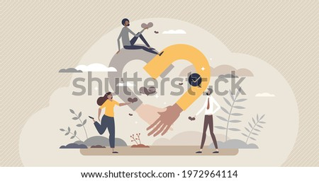 Empathy and emotional feeling support with understanding about other people problem situations tiny person concept. Help in relationship crisis with psychological therapy talking vector illustration.