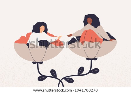 Empathy and friendship concept. Girl extends a helping and supportive hand to her friend.  Black woman cares timid and indecisive female adolescent with psychological problems. Vector illustration