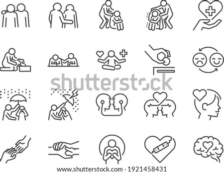 Empathy line icon set. Included the icons as cheer up, friend, support, emotion, mental health and more.