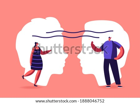 Empathy, Open Mind, Emotional Intelligence Concept. Communication Skills, Reasoning, Persuasion, People Listen and Support Each Other, Male and Female Characters Chatting. Cartoon Vector Illustration Photo stock ©
