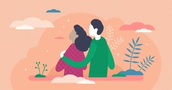 Empathy vector illustration. Understanding other people feeling in flat tiny persons concept. Emotional, cognitive and somatic personality character in abstract visualization with couple affection.