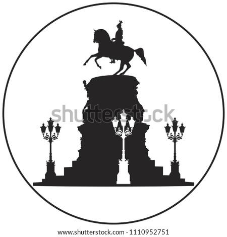 Emperor Nicholas I monument vector icon from Saint from Saint-Petersburg Russian landmark set