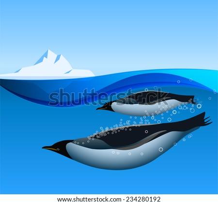 emperor penguins swim