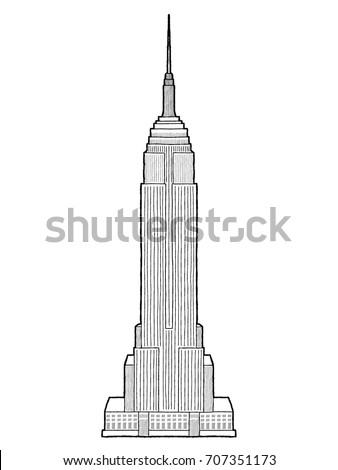 Empire State Building, Manhattan, New York City: Vector Illustration Hand Drawn Cartoon Art