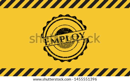 Employ black grunge emblem with yellow background. Vector Illustration. Detailed.