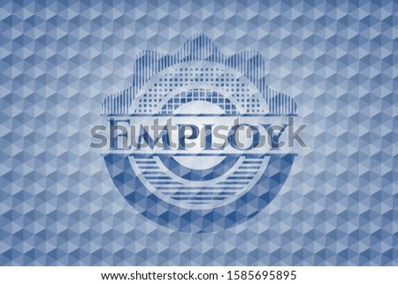 Employ blue emblem or badge with abstract geometric pattern background. Vector Illustration. Detailed.
