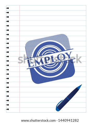 Employ draw with pen effect. Blue ink. Vector Illustration. Detailed.